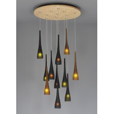 Fusion Jack Eleven Port Wood Round Canopy in Satin Nickel
