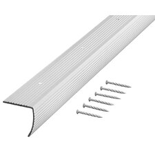"""1.25"""" H x 2.25"""" W x 36"""" D Fluted Edging Stair Nose in Silver"""