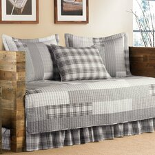 Fairview 5 Piece Daybed Coverlet Set in Gray & White