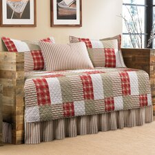 Camano Island 5 Piece Daybed Coverlet Set in Red & Khaki