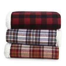 Edgewood Plaid Flannel Sherpa Throw Blanket