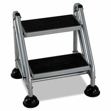 2-Step Steel Rolling Commercial Step Stool with 300 lb. Load Capacity