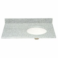 "37"" Single Granite Vanity Top with Offset Right Bowl and Faucet Spread"