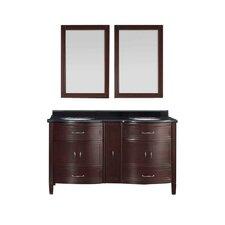 "Bella 60"" Double Bathroom Granite Vanity Set with Mirror"