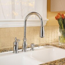 Hanover Single Handle Deck Mounted Kitchen Faucet with Soap Dispenser