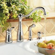 Marielle Single Handle Deck Mounted Kitchen Faucet with Side Spray and Soap Dispenser