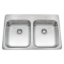 "Ada 33"" x 22"" Double Bowl Back Ledge Kitchen Sink"