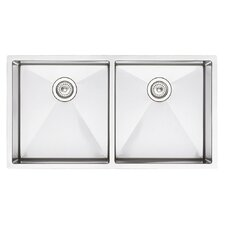 """Precision 37"""" x 18"""" Equal Double Bowl Kitchen Sink"""