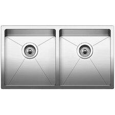 """Quatrus 32"""" x 18"""" Equal Double Bowl Undermount Kitchen Sink"""