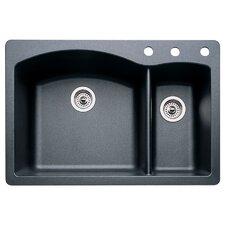 "Diamond 33"" x 22"" Double-Basin Granite Drop/Undermount Residential Kitchen Sink"