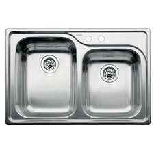 """Supreme 33"""" x 22"""" Double-Basin Drop-in Residential Kitchen Sink"""