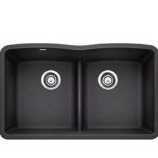 """Diamond 32"""" x 19.25"""" Equal Double Low Divide Undermount Kitchen Sink"""