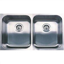 "Spex 31.13"" x 18"" Equal Double Bowl Undermount Kitchen Sink"