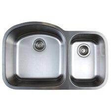 """Stellar 31.75"""" x 20.5"""" Double Bowl Undermount Kitchen Sink"""