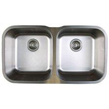 """Stellar 33.33"""" x 18.5"""" Equal Double Bowl Undermount Kitchen Sink"""