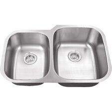 "30"" x 18.75"" Double Bowl 16 Gauge Kitchen Sink"