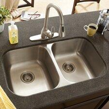 "32"" x 16.5"" Double Bowl 18 Gauge Kitchen Sink"