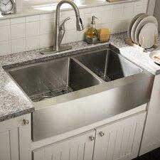 """Farmhouse 36"""" x 21.25"""" Undermount Double Bowl Kitchen Sink"""