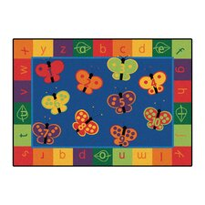 Literacy 123 ABC Butterfly Fun Kids Area Rug