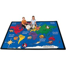 Geography Blue World Explorer Area Rug