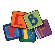 Toddler Alphabet Blocks Squares Primary Area Rug (Set of 26)