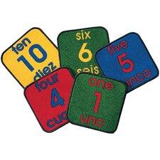 Carpet Kits Printed Bilingual Number Tile Area Rug