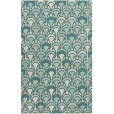 Voyages Teal Geometric Area Rug