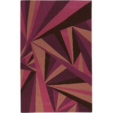 Voyages Eggplant Geometric Area Rug