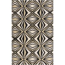 Voyages Black Geometric Area Rug