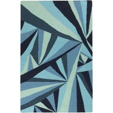 Voyages Navy Geometric Area Rug