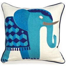 Jaipur Elephant Beaded Linen Throw Pillow