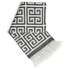 Greek Key Wool Throw Blanket