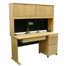 Modular Real Oak Wood Veneer Standard Desk with Hutch