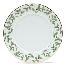 """Holly and Berry Gold 10.5"""" Dinner Plate"""