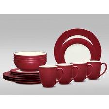 Colorwave Rim 16 Piece Dinnerware Set