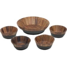 5 Piece Kona Wood Salad Bowl Set