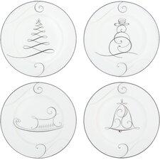 Platinum Wave Holiday Appetizer Plate (Set of 4)