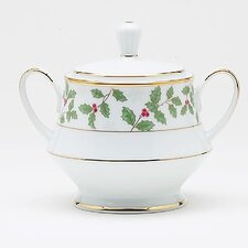 Holly and Berry Gold 10 oz. Sugar Bowl with Lid