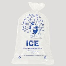 10 Pound Ice Bag, 1.50 Mil in Clear / Blue