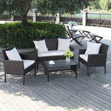 Azura 4 Piece Bench Seating Group with Cushion