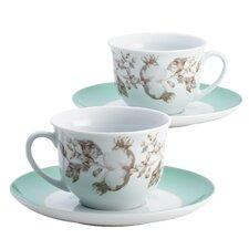 Fruitful Nectar Porcelain Printed Teacup and Saucer Set (Set of 2)