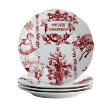"""Yuletide Garland 7.25"""" Printed Porcelain Stoneware Fluted Salad Plate (Set of 4)"""