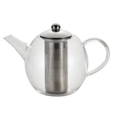 Round 1.06 Qt. Glass Teapot with Shut-Off Infuser