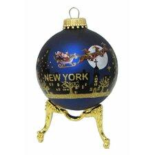 NY Santa Skyline Painted Ball Ornament