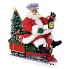 Fabriché Santa on Train with LED Tree
