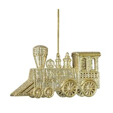 Plastic Platinum and Champagne Glitter Train Ornament