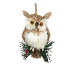 Natural Hanging Owl on Sprig Ornament