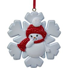 "3.25"" Snowgirl on Snowflake Ornament"