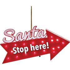 Santa Stop Here Blinking Ornament