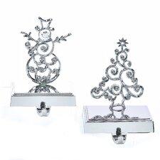 2 Piece Christmas Tree and Snowman Stocking Holder Set